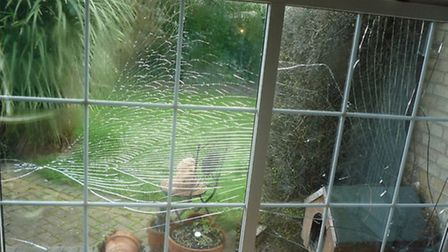 Windows were cracked and shattered in the explosion.