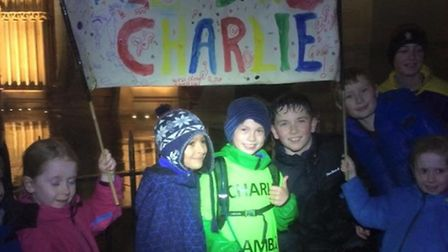 Charlie's friends turned up at the finish at St Albans Abbey to cheer him home and congraulate him o