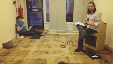 Laura Whitford and Ian Walls jamming in the No.3 shop during the make-over.