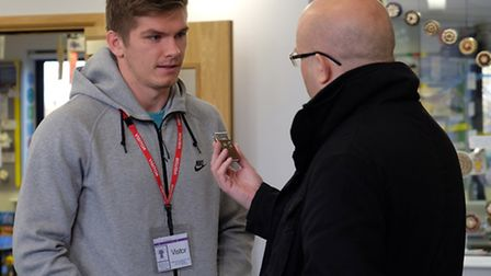 England and Saracens rugby player Owen Farrell talks to the Herts Advertiser