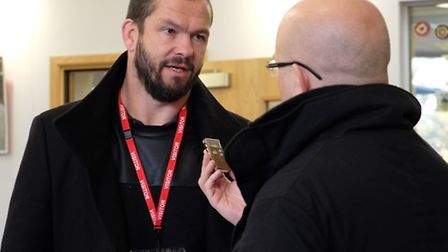 Former England rugby coach Andy Farrell talks to the Herts Advertiser