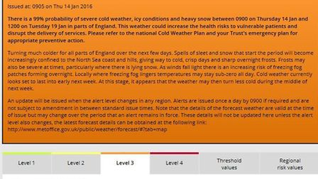 Cold weather alert issued. Image courtesy of the Met Office