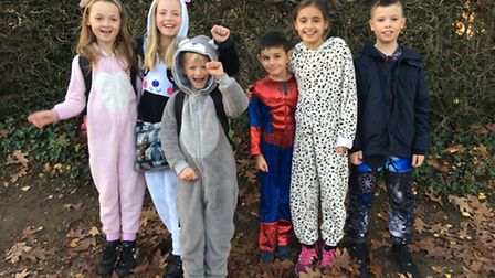Children at Wheatfields Junior School turned up to lessons in pyjamas and onesies to raise money for