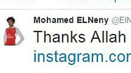 Arsenal's new signing Mohamed Elneny tweeted his thanks after being signed up. Courtesy: Twitter/@El