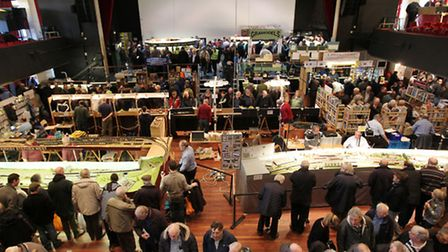 Crowds fill the Alban Arena for the annual St Albans model railway exhibition