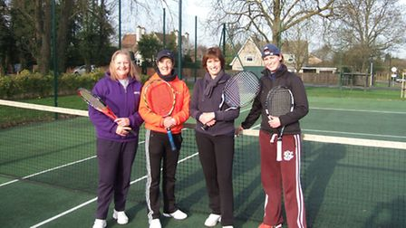 Royston Tennis Club ladies doubles championship winners Della Gibson and Sally Muddiman, and runners