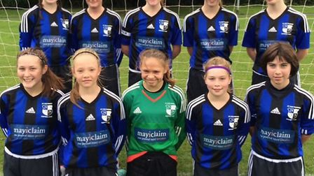St Ives Rangers Girls Under 14s are back row, left to right, Sophie Tarpey, Molly Sutherland, Ellie