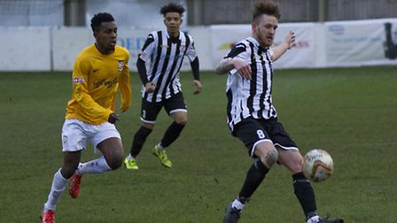 Jared Cunniff scored one goal and made another for St Ives Town. Picture: LOUISE THOMPSON