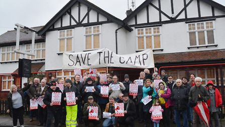 CAMRA demonstration outside The Camp pub