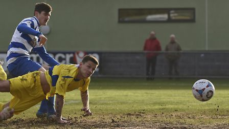 Charlie Macdonald grabs a debut goal for St Albans. Picture: BOB WALKLEY