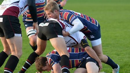 Max Malins clears out a ruck for OAs. Picture: KEVIN LINES