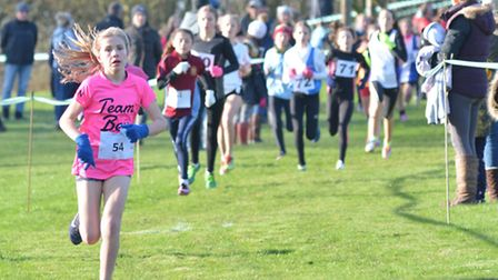 Isabelle Wilkins of Hinchingbrooke School won the Minor Girls race at the Cambridgeshire Cross-Count