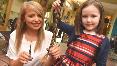 Alexa Chappel, (5) from St Neots, had her hair cut so she can donate it to The Little Princess Trust