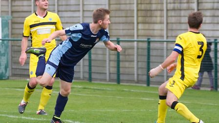 Tom Meechan scored twice and missed a penalty as St Neots Town lost at Biggleswade. Picture: CLAIRE