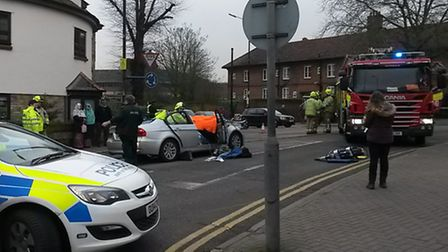 A woman had to be cut out of her car following a collision on Hatfield Road, St Albans