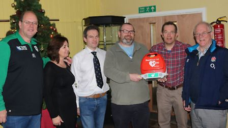 Pictured from left: Andy and Angela Clifford, Tony Maile, Paul McGoohan, Rob Lines and RFU senior vi
