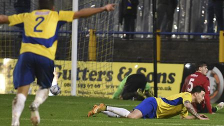 John Kyriacou runs to celebrate with Louie Theophanous in the 1-1 draw with Bishop's Stortford. Pict