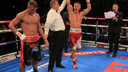 Tommy Martin celebrates his English light welterweight title triumph in January. Picture: LAWRENCE L