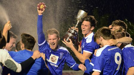 Godmanchester Rovers celebrate winning the Hunts Senior Cup in May.