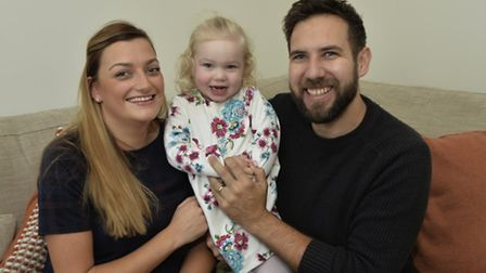 Stuart and Emma Hunter, pictured with their two-year-old daughter Edee. The couple were two of the f