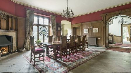 The majestic dining room at Hockwold Hall, Suffolk