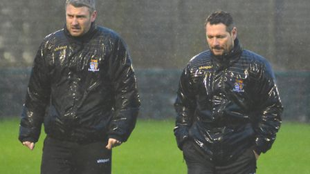 St Neots Town boss David Batch (right) had much to ponder after another defeat for his team. Picture