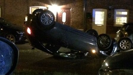 It is currently unknown how the car rolled onto its roof