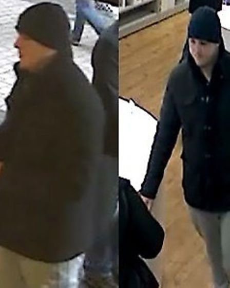 Herts Police are seeking two men in connection with the theft of two laptops from a shop in St Alban