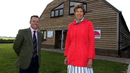 Ian Pigott, founder of The Farmschool, with Lord-Lieutenant of Hertfordshire, The Countess of Verula