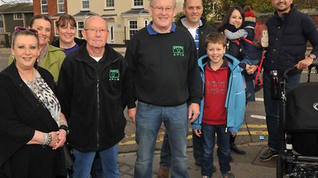 Ghost Walk founder Damien O'Dell (centre) and the people on his ghost walk in Royston in front of th