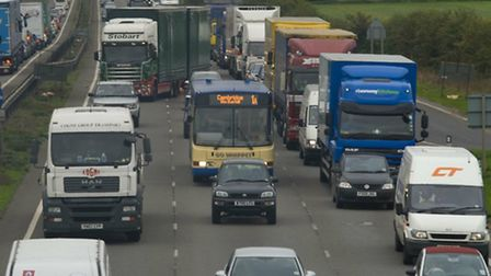 Traffic builds up on the A14 at Catworth following accident
