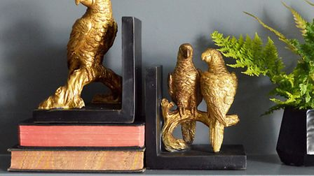 Gold parrot bookends, £42, available from Miafleur (PA Photo/Handout)