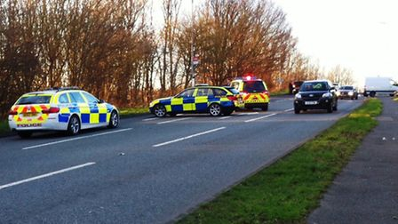 The scene of the incident, near Lancaster Way, in Huntingdon.
