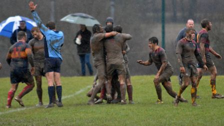 Tabard celebrate after Jack Reilly's try in the last play clinched the win over HAC. Picture: KEVIN