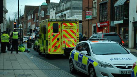 Paramedics attended the injured pedestrian in Chequer Street in St Albans