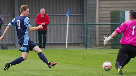 Tom Meechan seen scoring for St Neots Town earlier this season. Picture: CLAIRE HOWES
