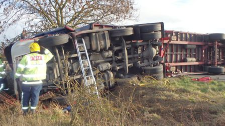 The overturned lorry at Wyton