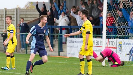 Tom Meechan celebrates one of his many goals for St Neots Town. Picture: CLAIRE HOWES