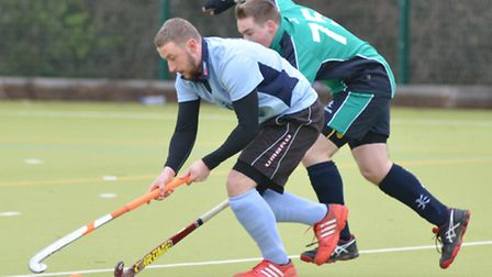 Action from the derby clash between St Neots Men's 1sts and St Ives 2nds last Saturday. Picture: HEL