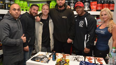 Organiser Suby Ali, More Than Nutrition owner Amir Hezareh, bodybuilder Chris Aceto, owner Liam Smit