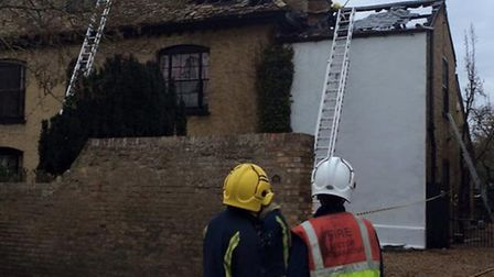 The scene of the fire in High Street, Earith.