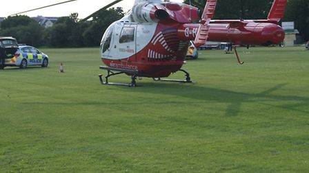 A man in his 20s was airlifted to hospital this afternoon after falling off a ladder