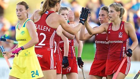 Great Britain celebrating a goal against the Hockeyroos (Australia). Picture: Daniel Carson | DCIMAG