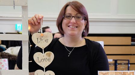 Fiona Rheinberg of fizzi-jayne makes with some valentines themed gifts at Royston Craft Fair