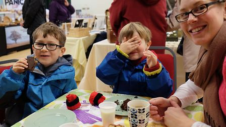 The Miller family enjoy tea and cakes at the Royston Craft Fair L-R Harry, 7, Charley, 4 and Sonia M