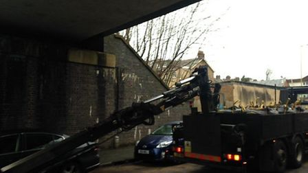 A lorry crashed into a bridge on Balmoral Road near Watford North station