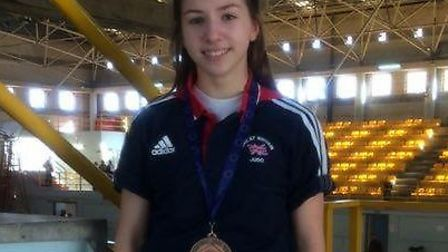 Amy Platten with her bronze medal from the European Judo Cup in Fuengirola, Spain