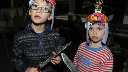 Clancy Page and Wolfie Page take part in a Roman day at Royston Museum