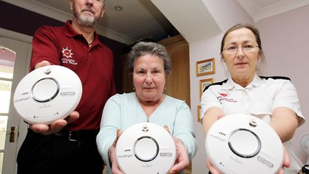 Paul Bromwich, Fire Service, with Maureen Allen, Home Owner and Watch Commander, Karen Valencia, Ven