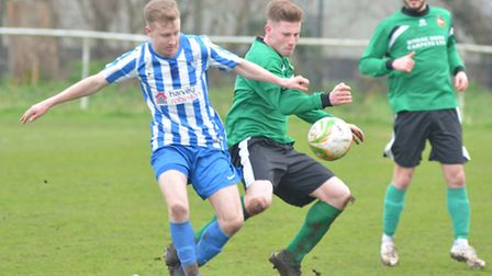 Action from Eynesbury Rovers' 2-1 defeat against Sleaford. Picture: HELEN DRAKE